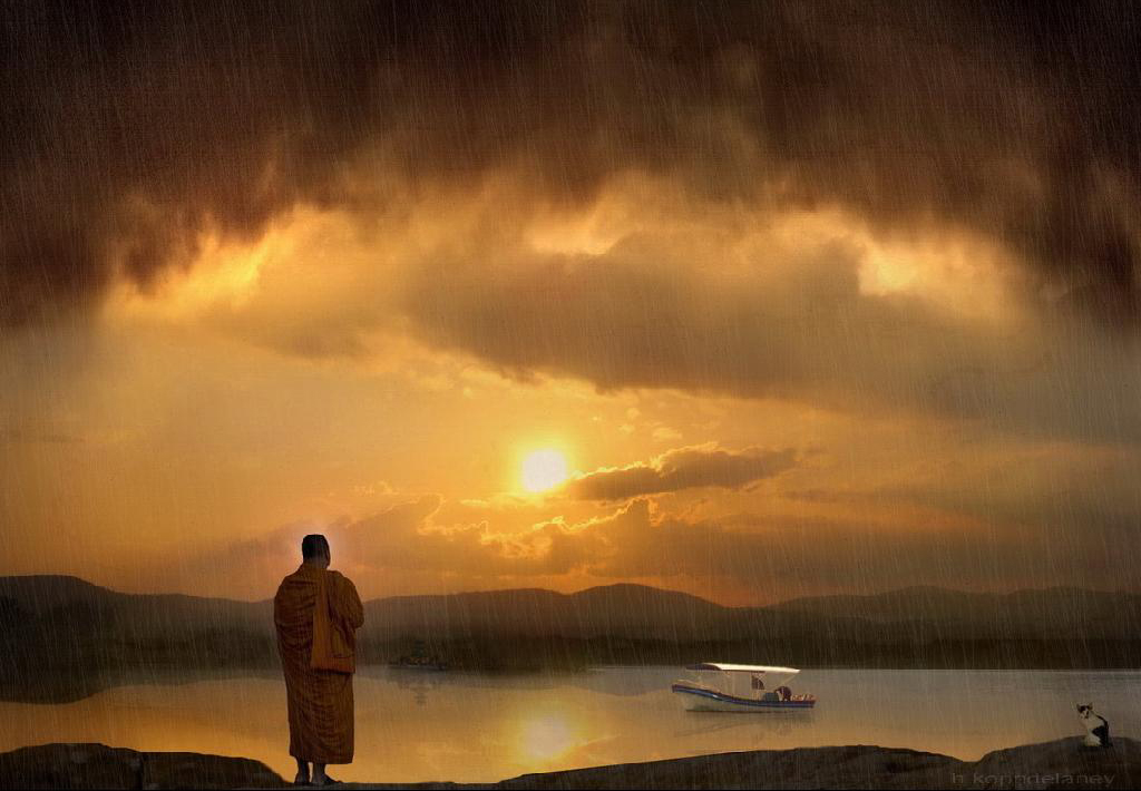 Buddha in the rain - clear and mindful.